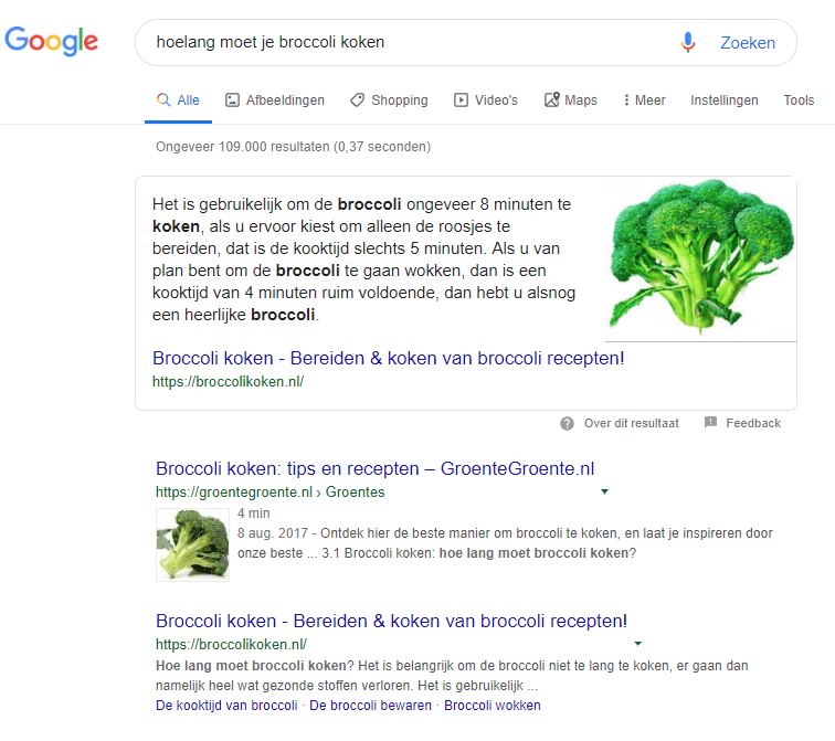 Wat is een featured snippet